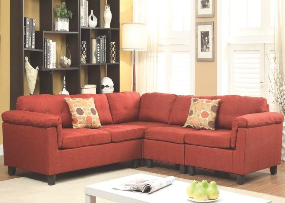 Contemporary Red Sectional Sofa Couch Linen Reversible within What Is A Settee