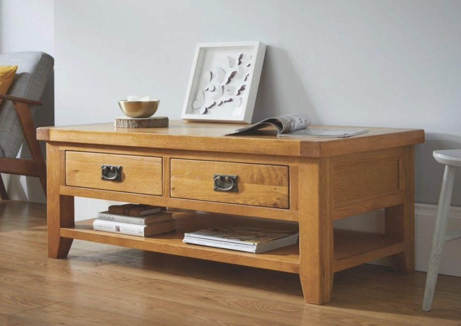 Country Oak Large 4 Drawer Coffee Table With Shelf - Free for Coffee Table With Drawers