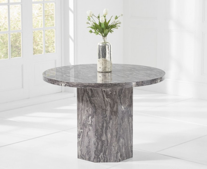 Crema Grey Round Marble Dining Table   The Great Furniture regarding Round Marble Dining Table