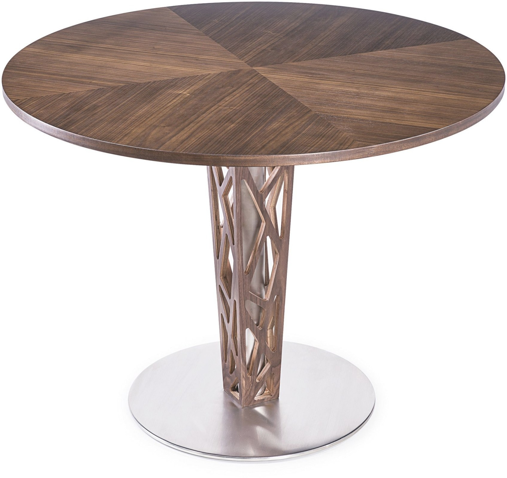 "Crystal 48"" Walnut Veneer Wood Top Round Dining Table with regard to Round Wood Dining Table"