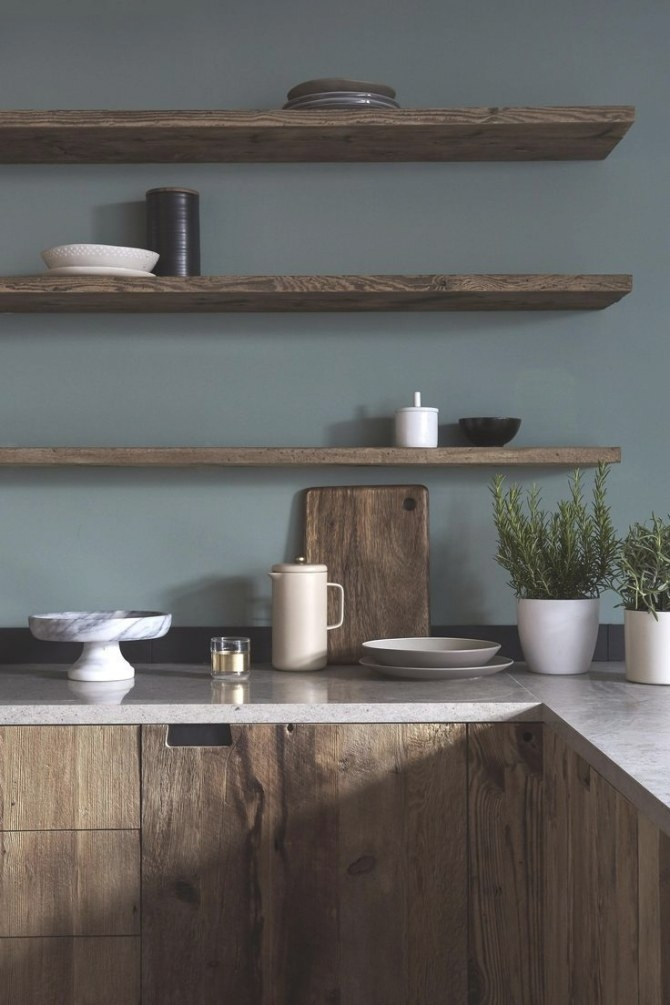 Dark Wood Kitchen Cabinetry With Moody Grey Green Walls regarding Teal And Gray Kitchen