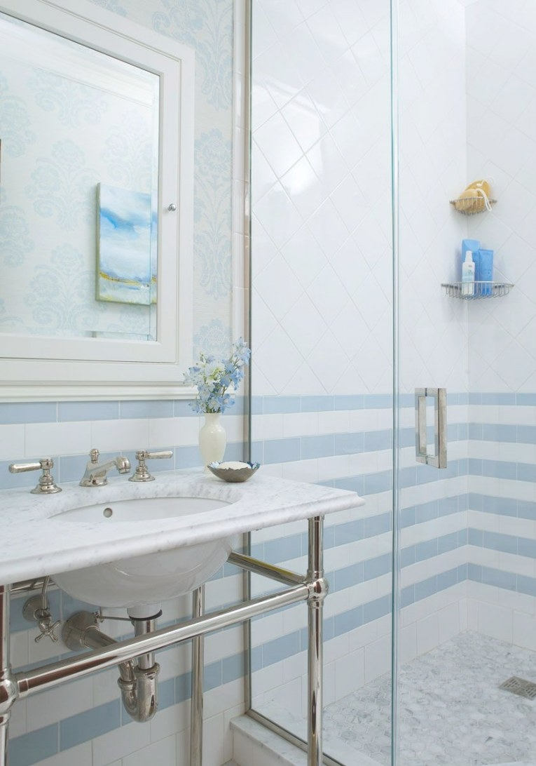 Decorating Ideas For Blue-And-White Bathrooms In 2019 inside Small White Tiles For Bathrooms