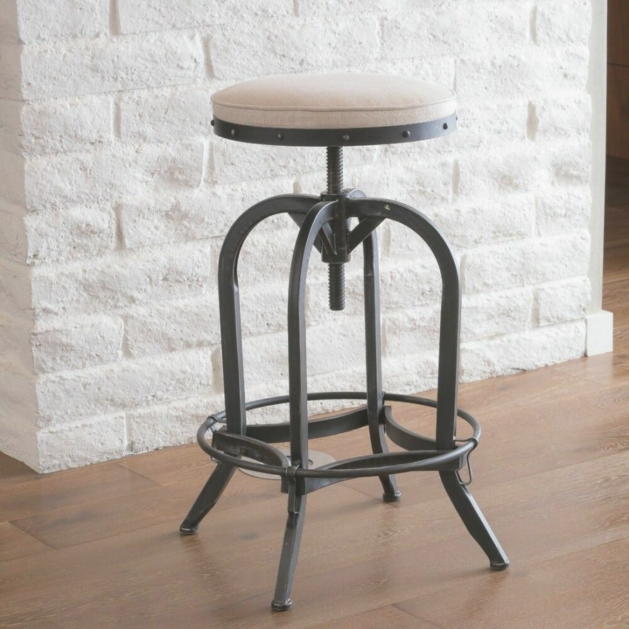 Denise Austin Home Brixton Industrial Design Adjustable with Swivel Bar Stools With Backs