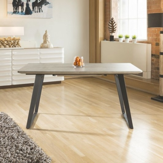 Dining Table Concrete Grey Effect Top Rectangle Extending for 8 Person Dining Table