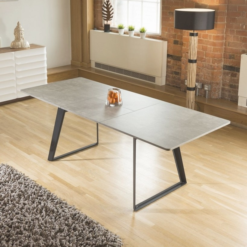 Dining Table Concrete Grey Effect Top Rectangle Extending regarding 8 Person Dining Table