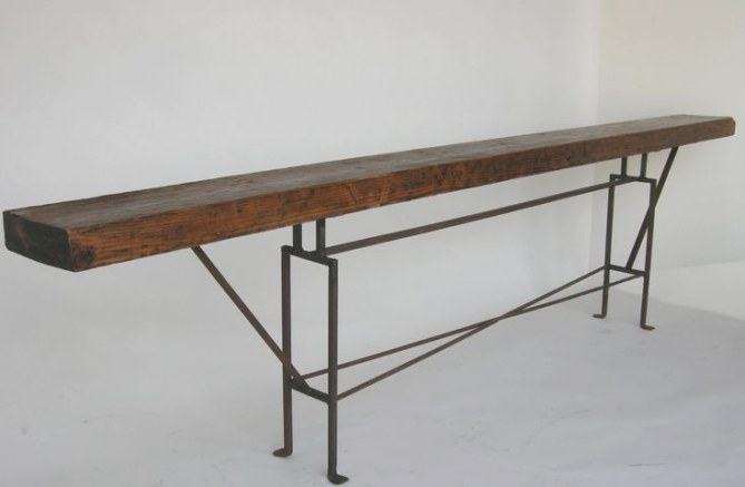 Dos Gallos Custom Long Skinny Reclaimed Wood Console Table in Extra Long Console Table