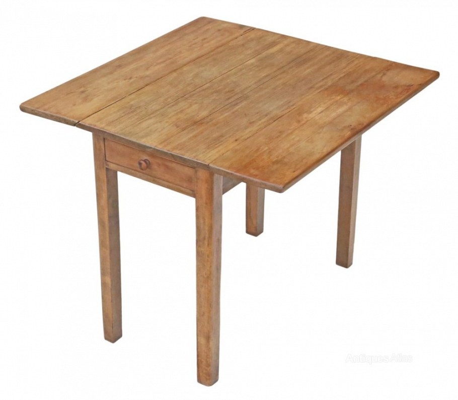 Drop Leaf Scrub Top Pine Kitchen Dining Table - Antiques Atlas in Drop Leaf Kitchen Table