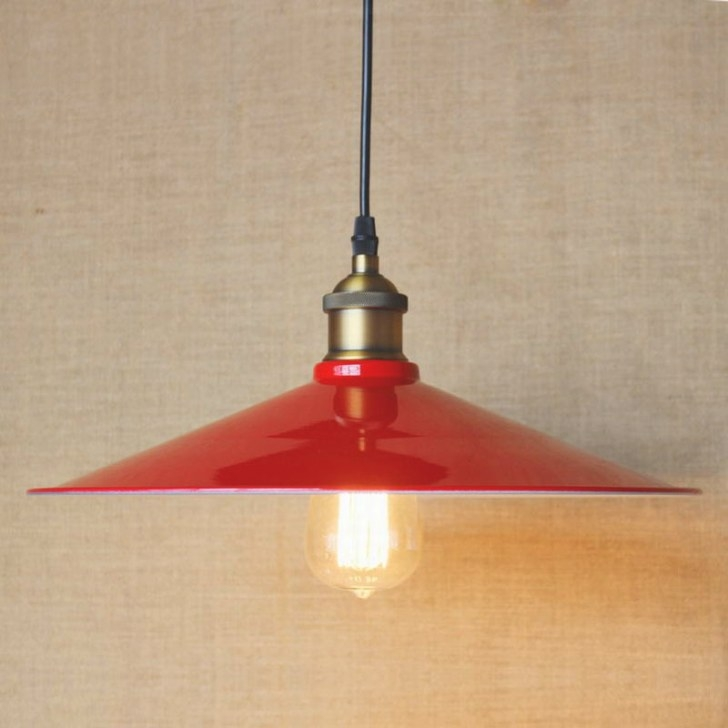 Edison Simple Vintage Metal Red Cover Pendant Lamp For inside Red Pendant Lights For Kitchen
