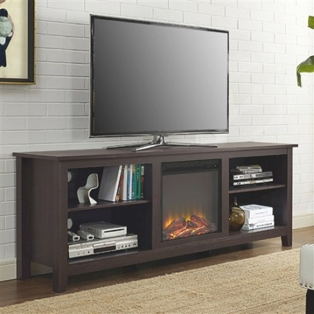 Espresso 70-Inch Electric Fireplace Tv Stand Space Heater throughout 70 Inch Tv Stand