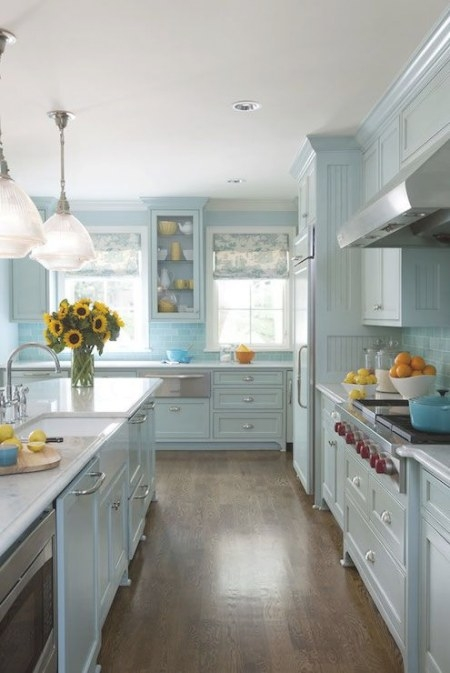 Fantastic Blue Kitchen Features Blue Cabinets Painted pertaining to Yellow And Turquoise Kitchen