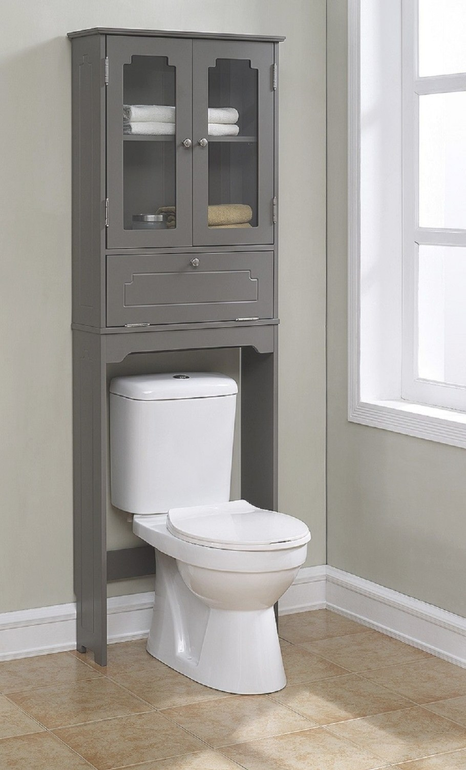 Features: -Elegant Etagere With 2 Glass Doors, 1 in Over The Toilet Storage