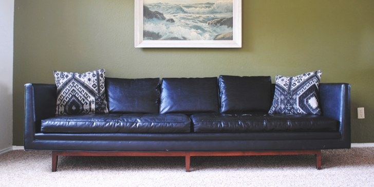 """Found: Mid Century Modern Black """"Leather"""" Sofa - The throughout Small Mid Century Modern Sectional"""