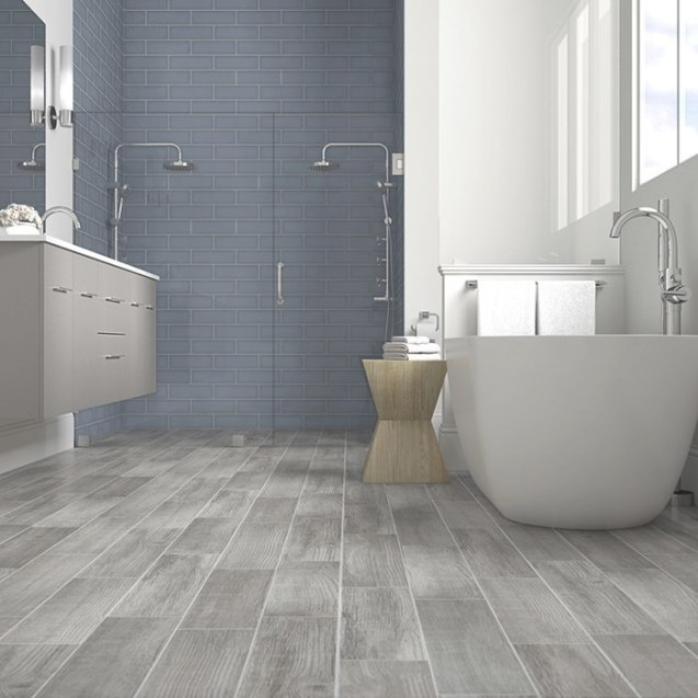 French Blue Shower Tile With Gray Wood-Look Floor Tiles intended for Wood Look Tile In Bathroom