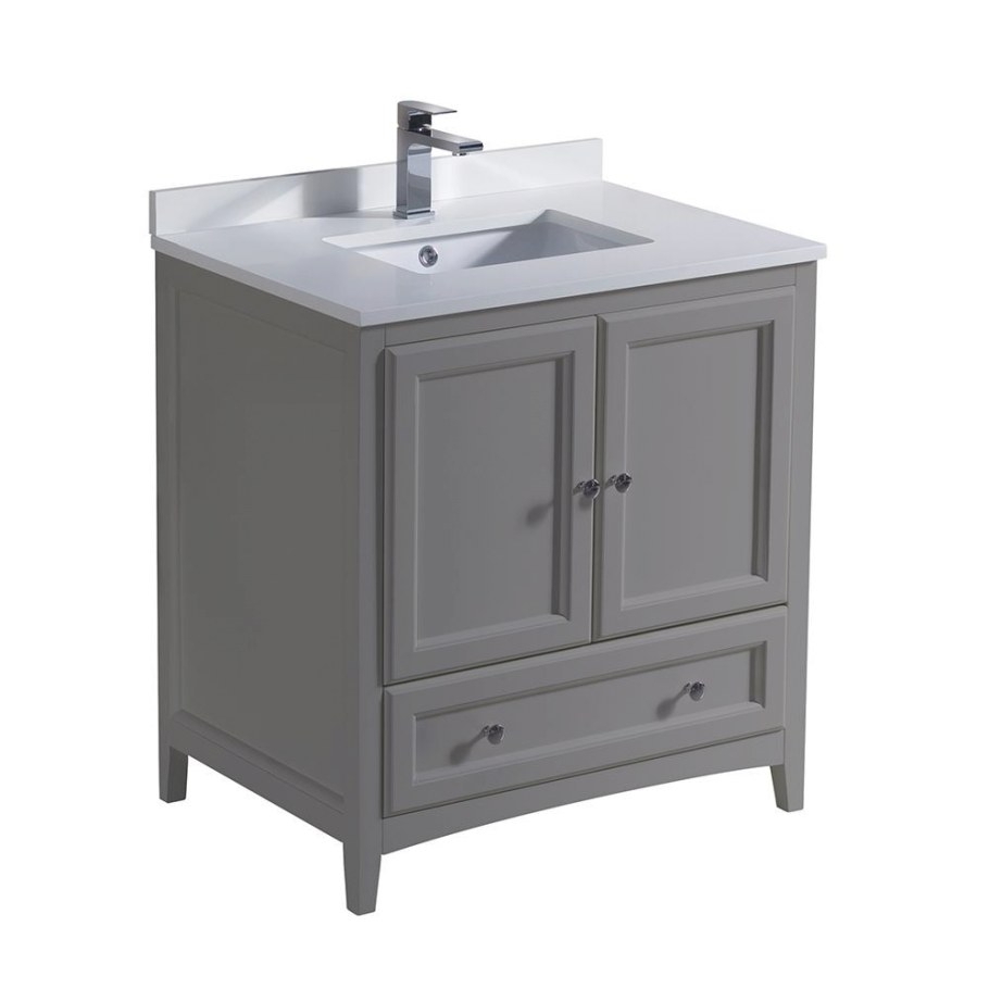 "Fresca Oxford 30 In. Traditional Bathroom Vanity In Gray throughout 30"" Bathroom Vanity"