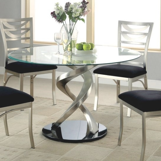 Furniture Of America Sculpture I Contemporary Glass Top for Round Glass Dining Table