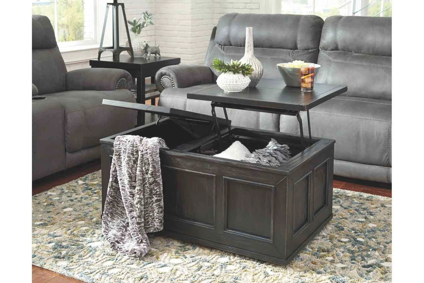 Gavelston Lift-Top Coffee Table | Mor Furniture For Less in Lift Top Coffee Tables