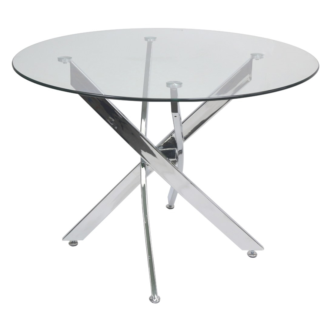 Genesis 51-Inch Round Glass Dining Table   Glass Tables with Round Glass Dining Table