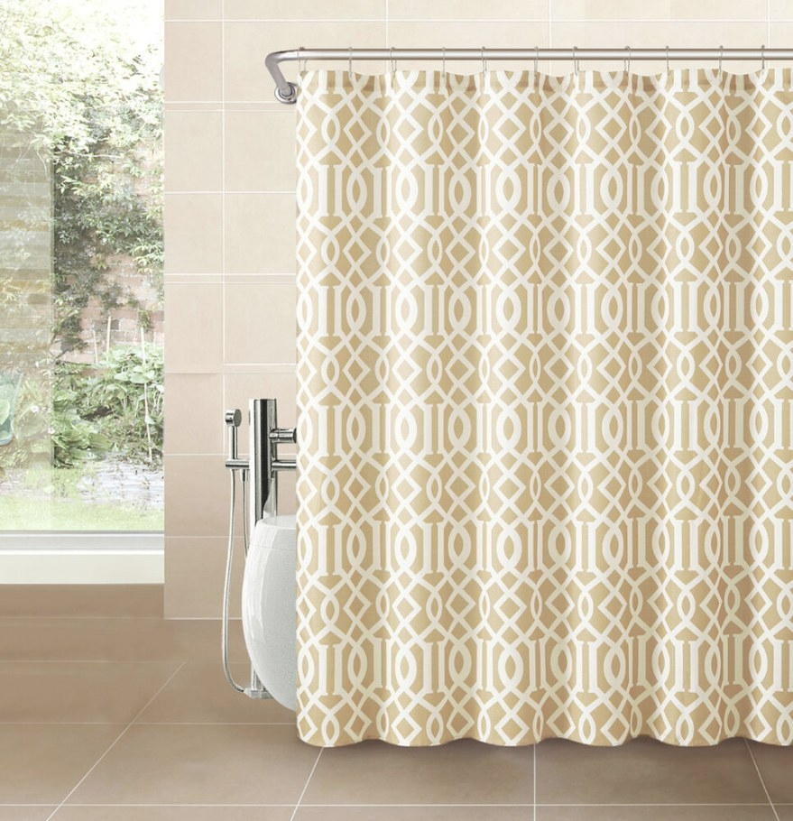 Gold Taupe Fabric Shower Curtain: White Imperial Trellis inside 84 Inch Shower Curtain