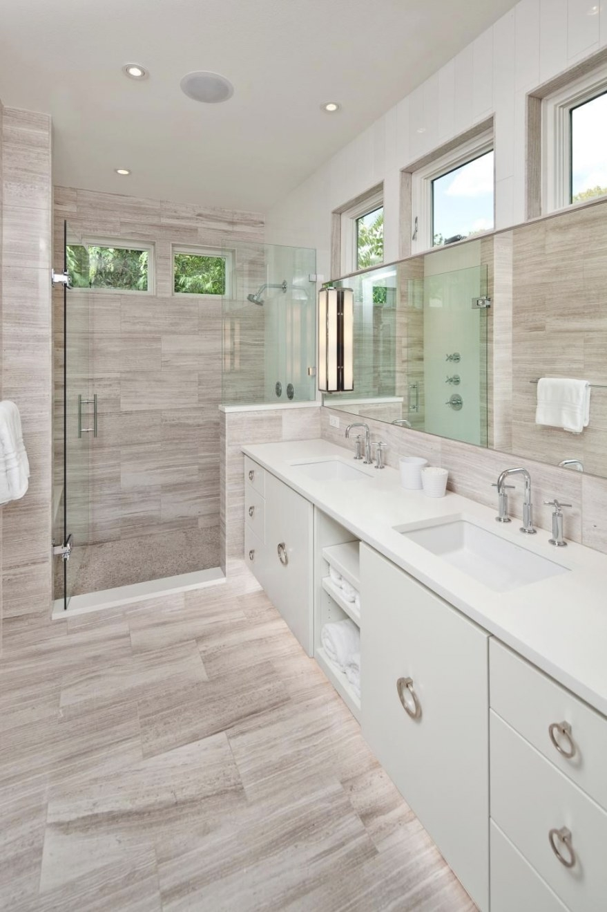 Gray And White Modern Spa Bathroom With Walk-In Shower in Wood Look Tile In Bathroom