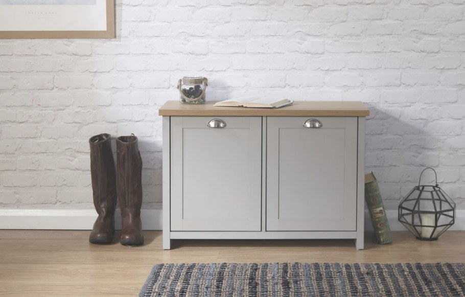 Grey Oak Shoe Storage Cabinet 2 Door Cupboard Two Tone throughout Shoe Cabinet With Doors