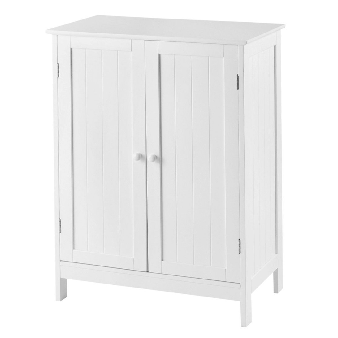 Gymax Bathroom Floor Storage Cabinet Double Door Kitchen intended for Shoe Cabinet With Doors