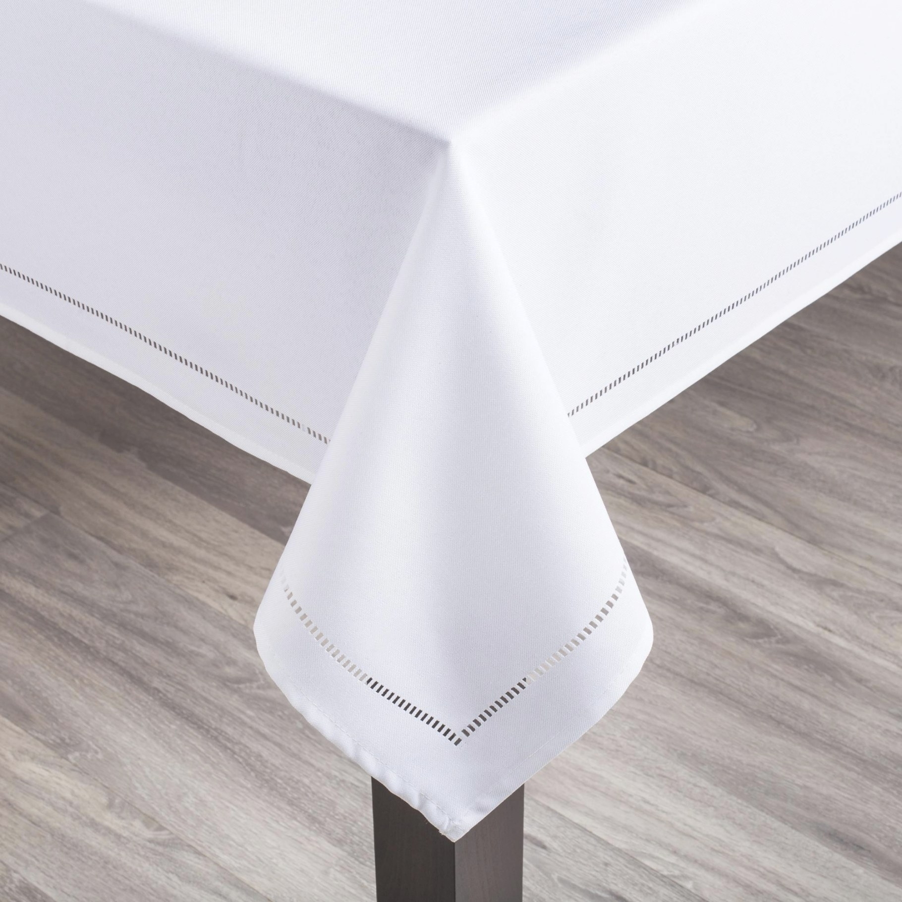 """Harman Hemstitch 70"""" Round Polyester Tablecloth (White intended for How To Iron Polyester"""