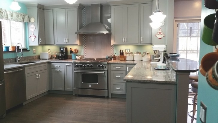 Henry | Contemporary Gray & Teal Kitchen Design intended for Teal And Gray Kitchen