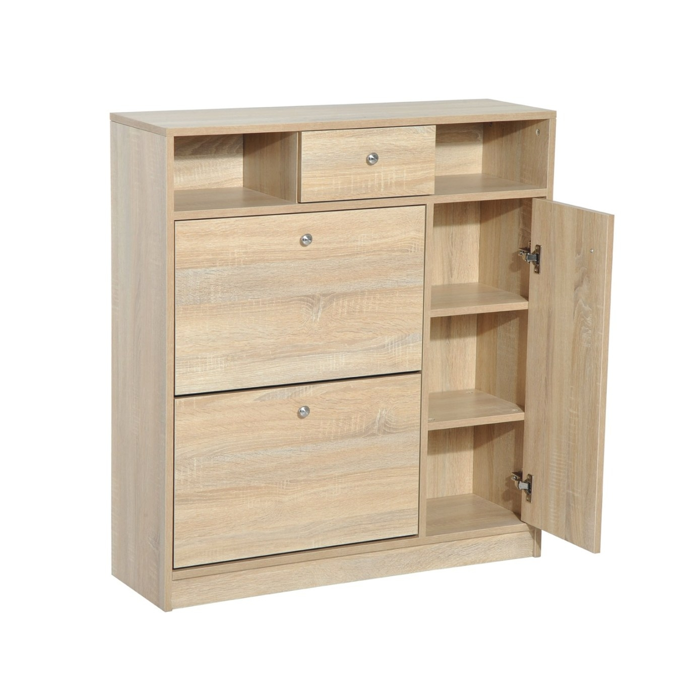 Homcom Shoe Cabinet - Pull Out Door & Drawer Organizer with regard to Shoe Cabinet With Doors