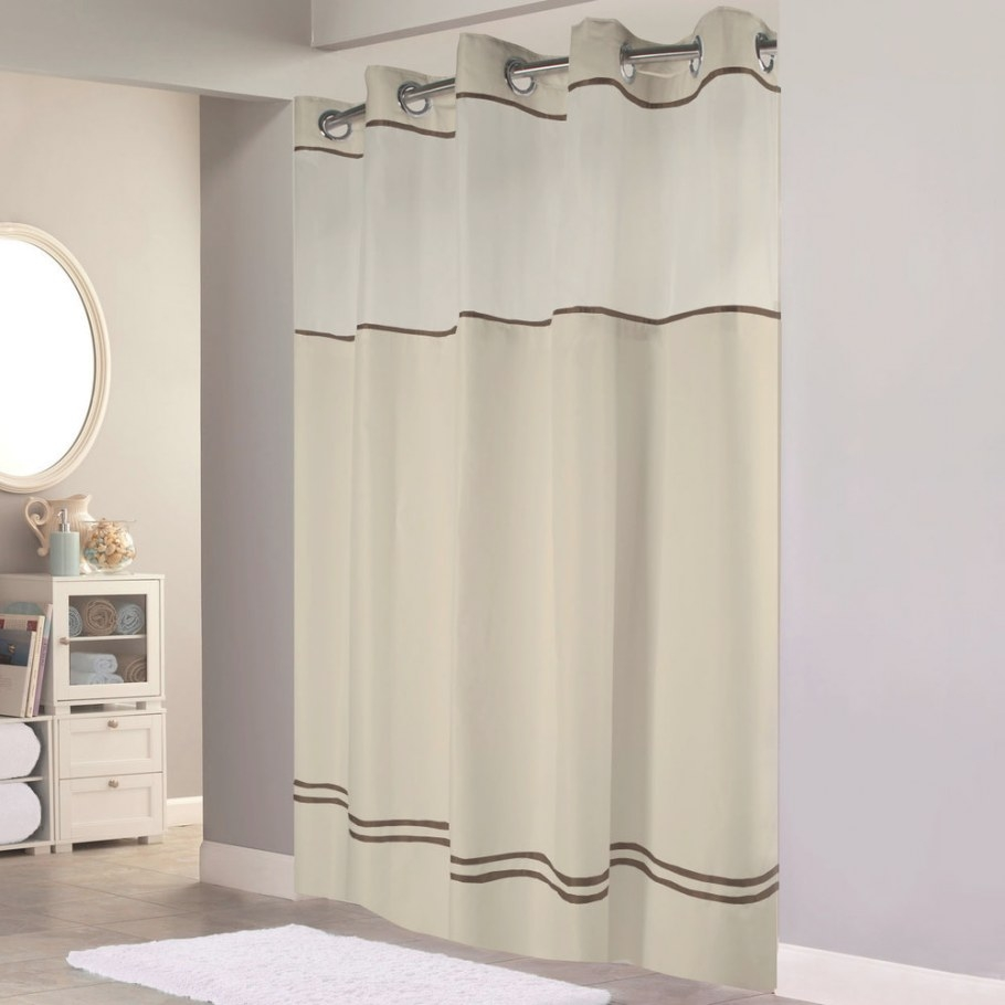 Hookless Hbh40Mys0529Sl77 Sand With Brown Stripe Escape regarding 84 Inch Shower Curtain
