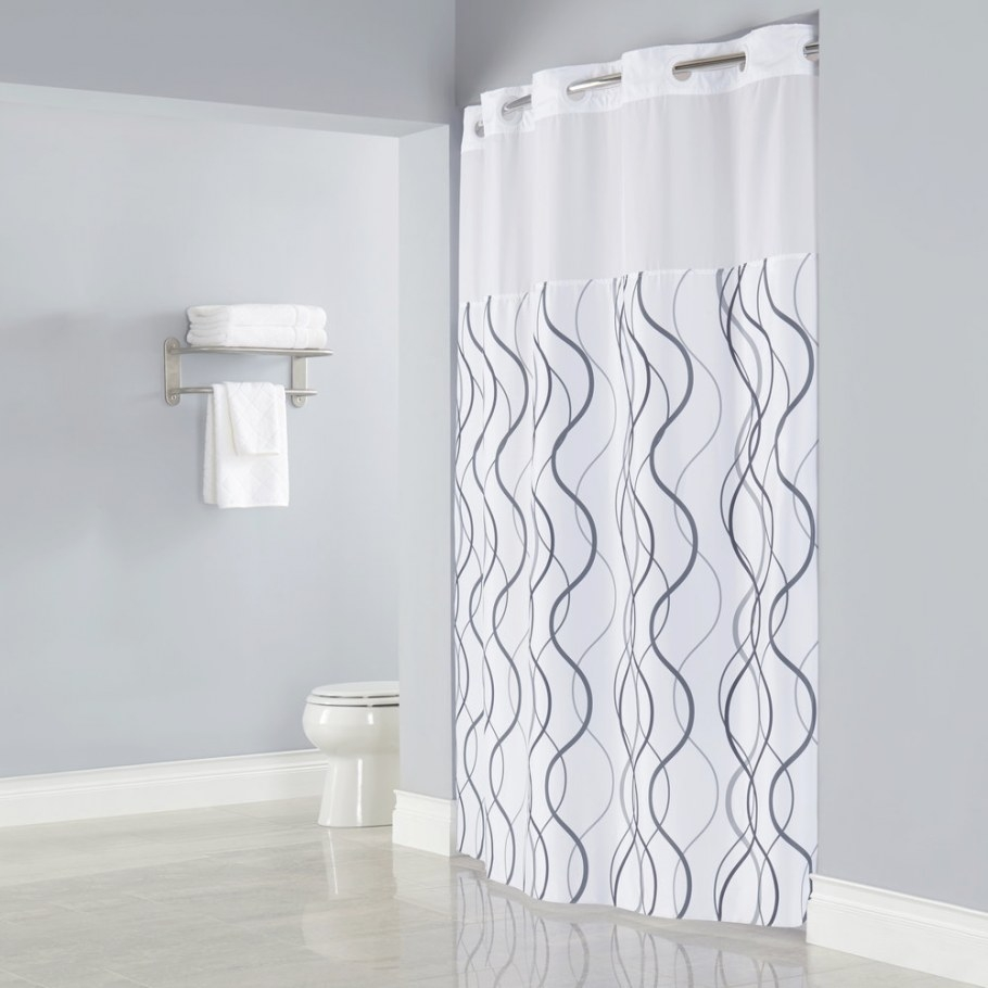 Hookless Hbh49Wav01Sl77 White With Gray Waves Shower inside 84 Inch Shower Curtain