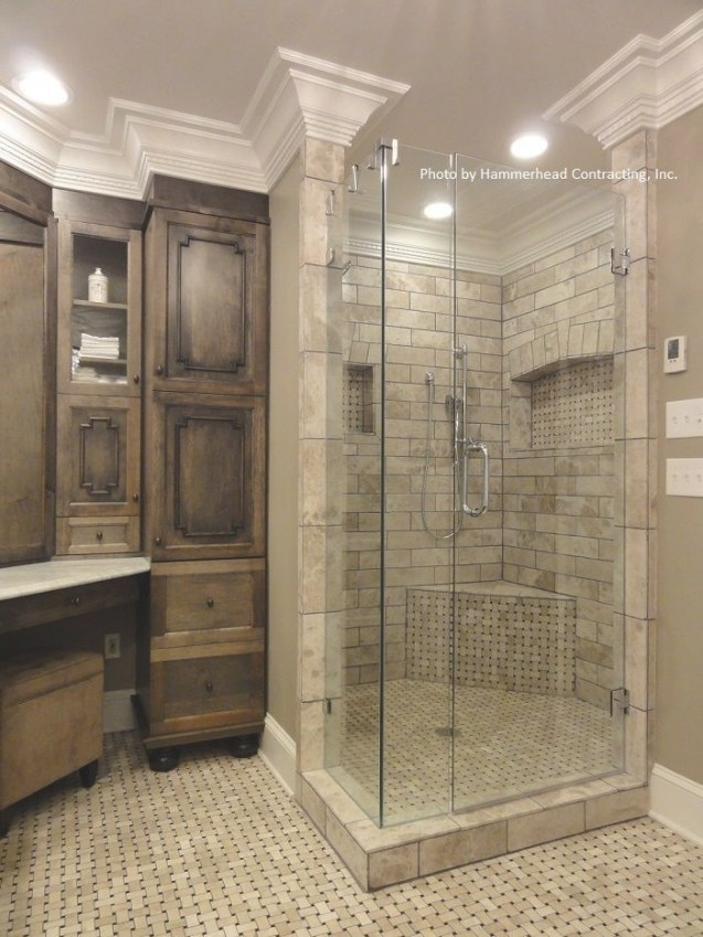 Incorporate Medium Stained Wood Cabinetry, Can Lights throughout How To Remodel Bathrooms