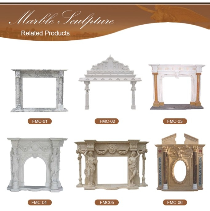 Indoor Used Cheap Electric White Marble Fireplace Mantel in Fireplace Mantels For Sale
