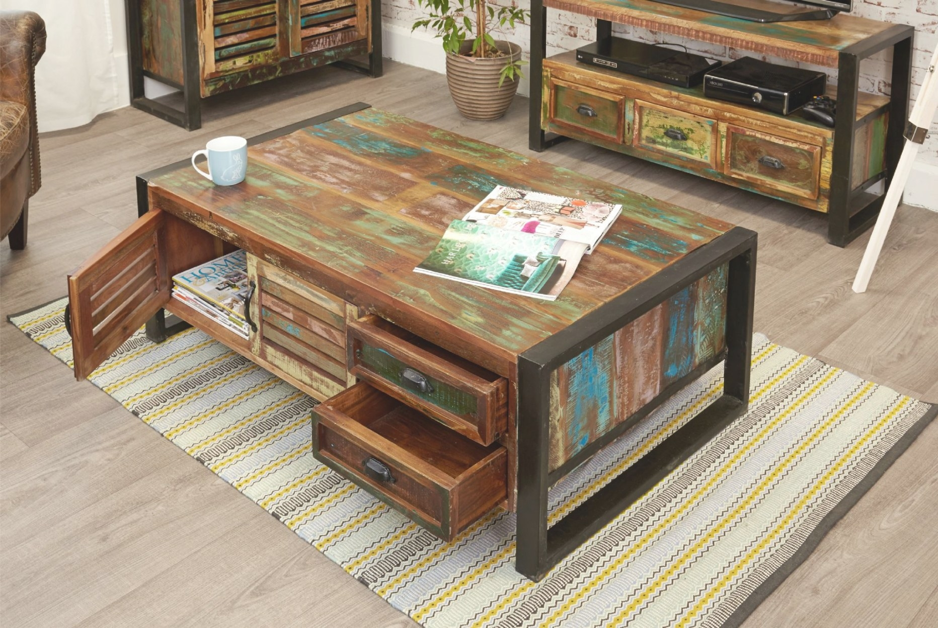 Industrial Coffee Table With 4 Drawers | Find More At Big Blu within Coffee Table With Drawers