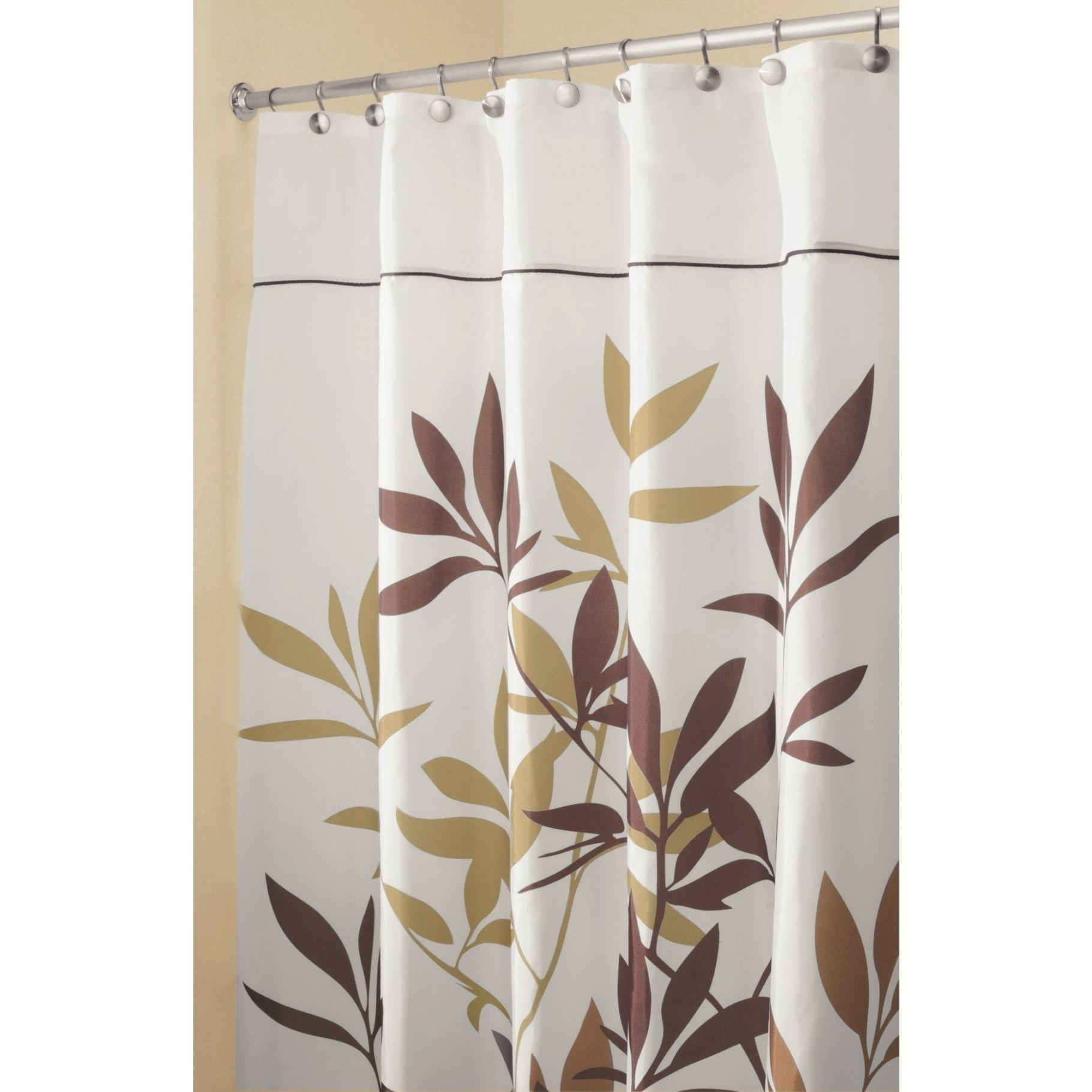 "Interdesign Leaves Fabric Shower Curtain, Long 72"" X 84 with 84 Inch Shower Curtain"