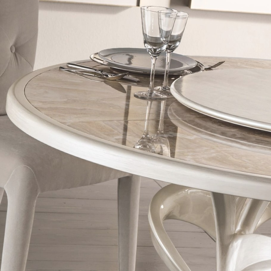 Italian Designer Mother Of Pearl Round Marble Dining Table for Round Marble Dining Table