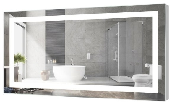 Kent Led Bathroom Mirror With Touch Sensor - Modern in Modern Lighted Mirrors For Bathrooms