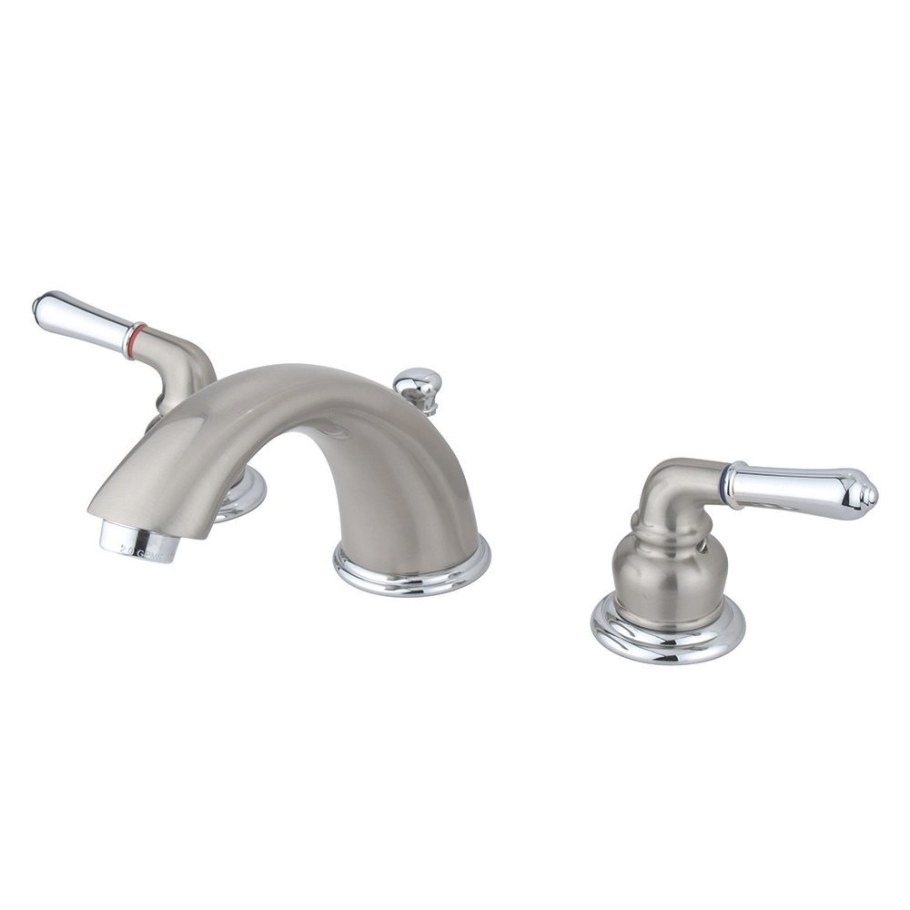 Kingston Brass Kb967 Magellan Widespread Lavatory Faucet regarding Mixing Chrome And Brushed Nickel Finishes In Bathroom