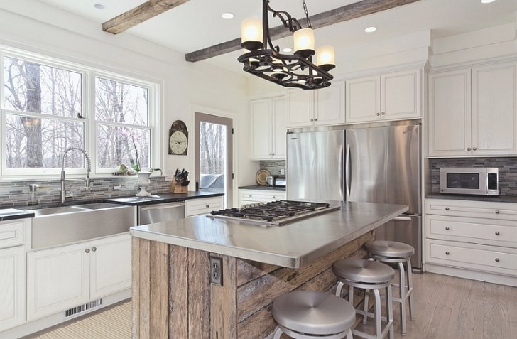 Kitchen Island In Modern Kitchen Interior With Stainless in White And Stainless Steel Kitchen