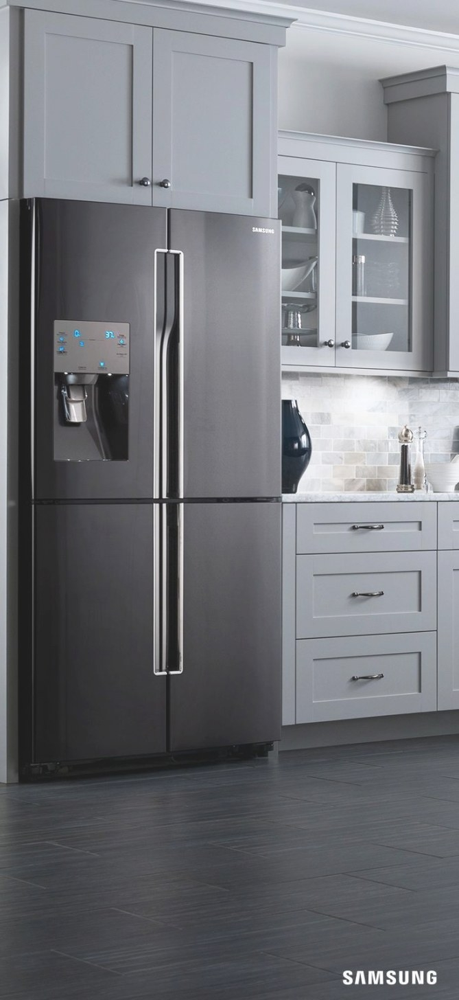 Kitchens With Black And Stainless Steel Appliances in White And Stainless Steel Kitchen