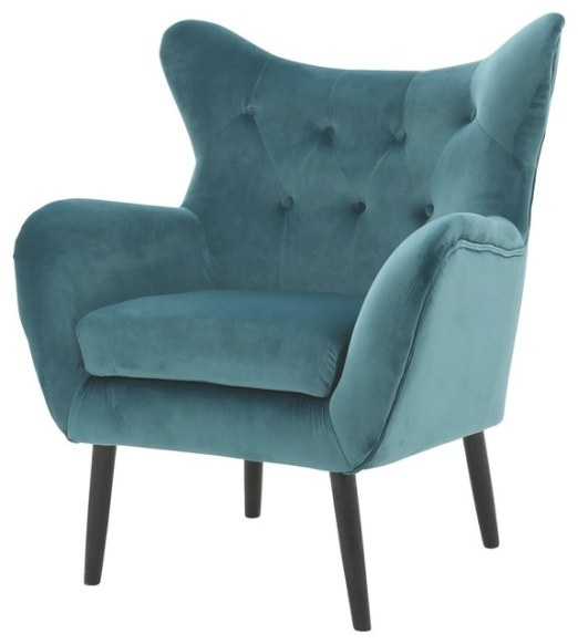 Kotop Light Gray New Velvet Wingback Arm Chair inside Armchairs And Accent Chairs
