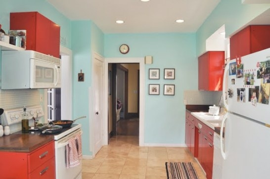 L. Tolly Floral And Home Design: Turquoise And Red with Yellow And Turquoise Kitchen