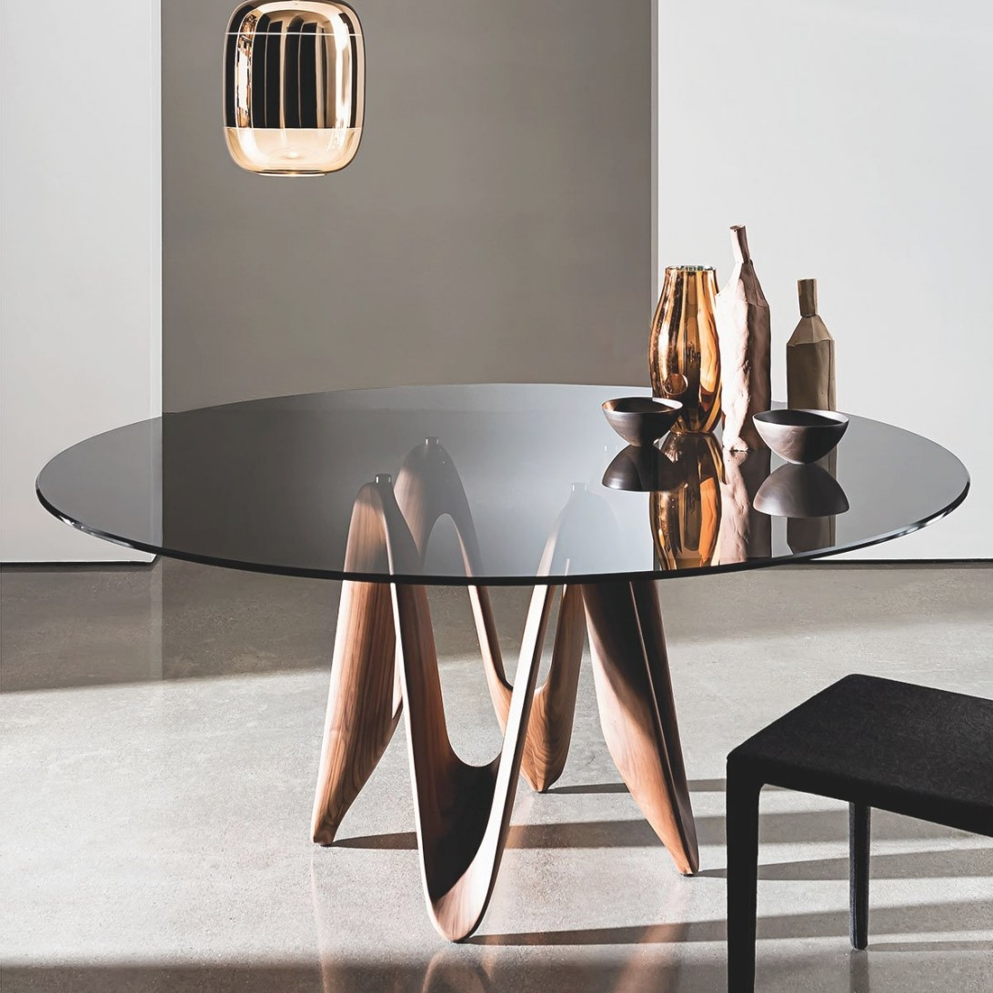 Lambda Table - Round Glass Top With Central Basesovet with Round Glass Dining Table