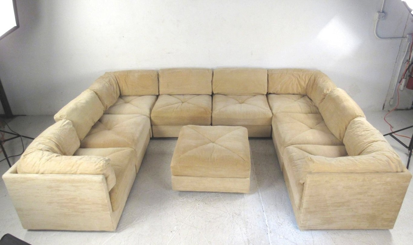 Large Selig Sectional Sofa With Ottoman, Mid-Century inside Small Mid Century Modern Sectional