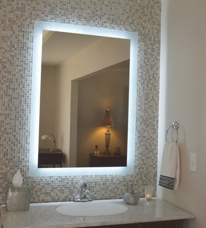 Led Integrated Backlit Bathroom Mirror Modern Anti Fog with regard to Modern Lighted Mirrors For Bathrooms