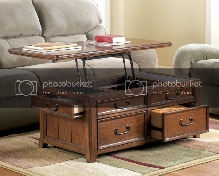 Lift Top Trunk Style Coffee Table With Storage Drawers Oak pertaining to Lift Top Coffee Tables