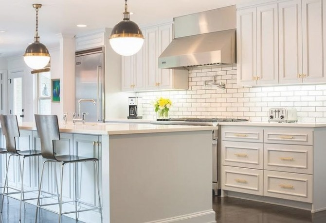 Light Gray Painted Kitchen Cabinets, Transitional, Kitchen intended for Sherwin Williams Gray Screen