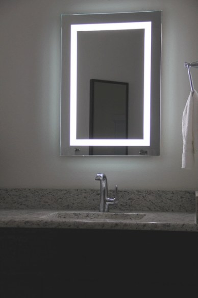 Lighted Image - Led Bordered Illuminated Mirror - Large with regard to Modern Lighted Mirrors For Bathrooms