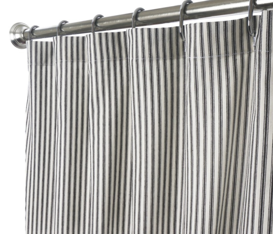 Long Shower Curtains Fabric Unique Black And White Ticking intended for 84 Inch Shower Curtain