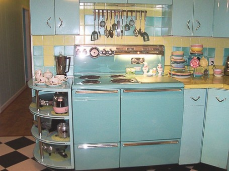 Lori'S Pink, Blue And Yellow Retro Kitchen: A Whole Lot Of within Yellow And Turquoise Kitchen