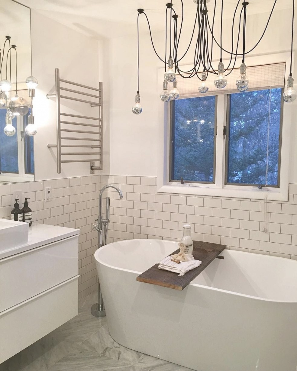 Love The Towel Rack, Standalone Tub, And Clean White Look pertaining to Stand Alone Vanities For Bathrooms
